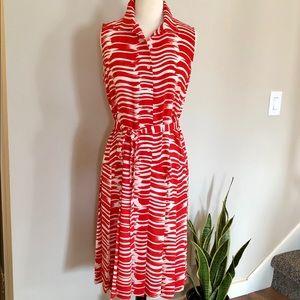 CABI Drop-Waist Pleated Dress